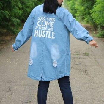 Plus Size 9XL Autumn Long Women's Denim Jacket Coat Hole Letter Oversize Casual Loose Jeans Jackets Female Outwear Windbreaker 3