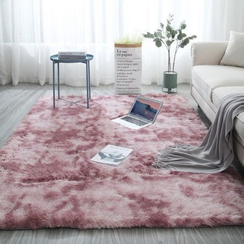 цена на Pink Carpet Tie Dyeing Plush Modern Soft Rectangle carpet Fluffy Rugs Anti-Skid Shaggy Area Rugs Bedroom Water Absorption Rugs