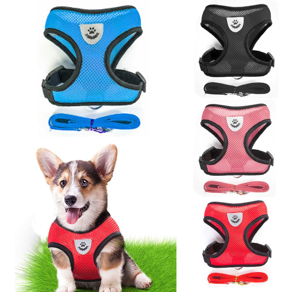 Set di imbracature e guinzagli per cani di piccola taglia traspiranti cucciolo di gatto gilet collare per imbracatura per Chihuahua Pug Bulldog Cat arnes perro 1