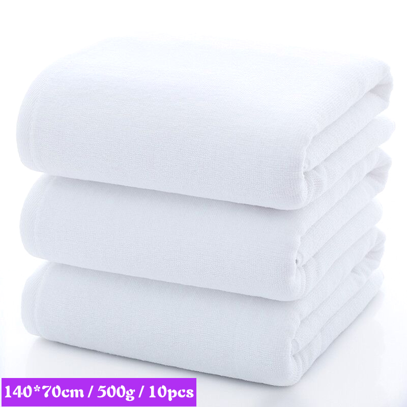 10pcs 70*140cm White Beach Bath Towel Soft Thick 5 Star Hotel Textile Towels For Home Bathroom Travel Swimming Gym Sports