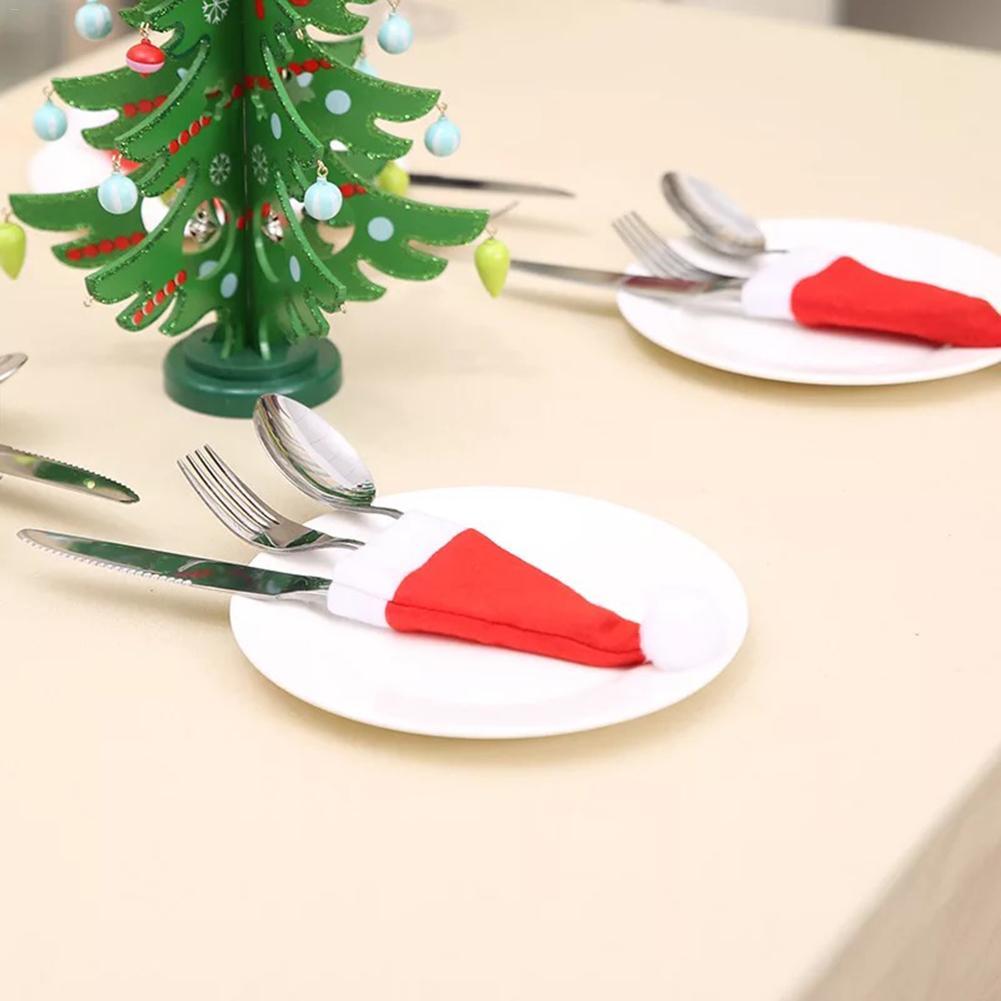 10PCS 2020 Christmas Hat Cutlery Holder Fork Spoon Pocket Wine Bottle Cap Christmas Decoration Bag Home Dinner Table Ornament in Stockings Gift Holders from Home Garden