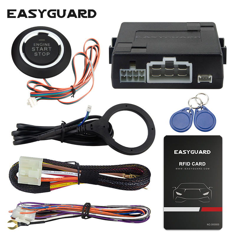 Universal RFID car alarm system with remote engine start stop, push button start stop, work with original car alarm