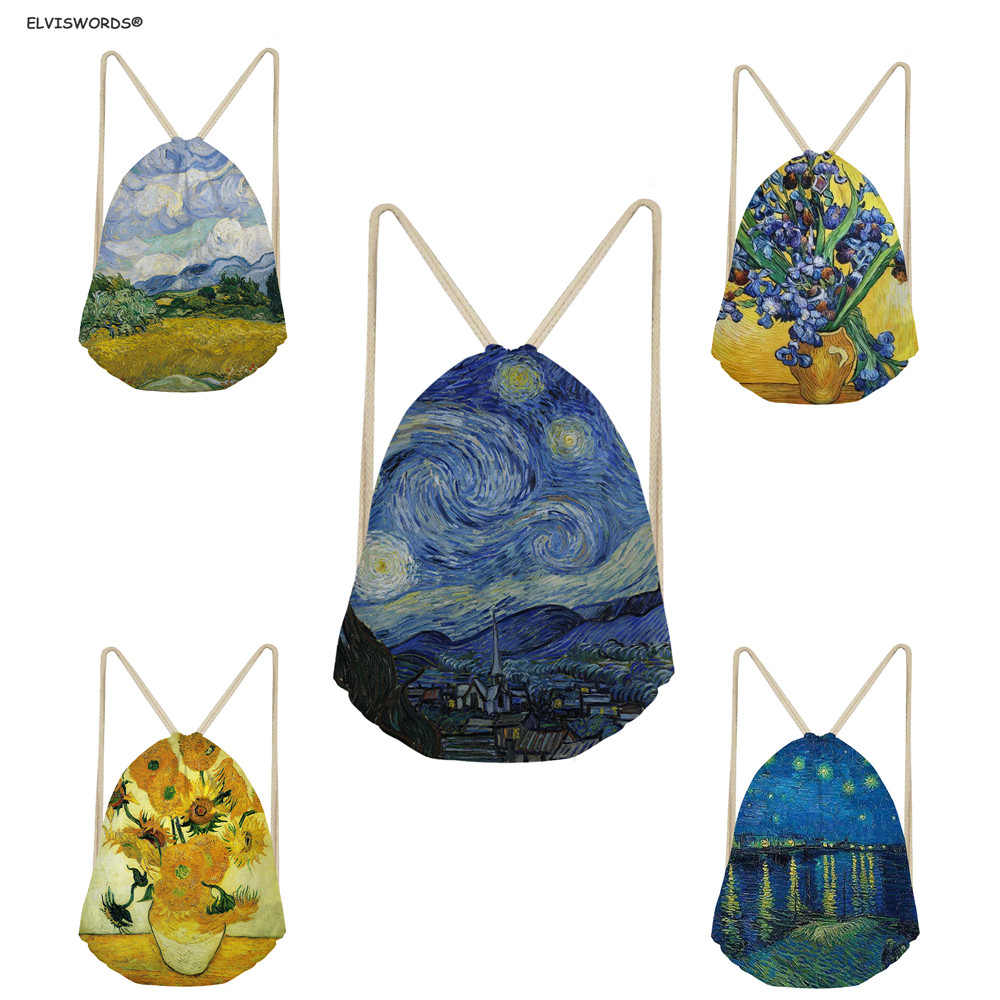 ELVISWORDS Customized  Starry Night Painting Van Gogh Drawstring Bags Traveling Beach Folding Bags Women Shopping Bags Gym Sack