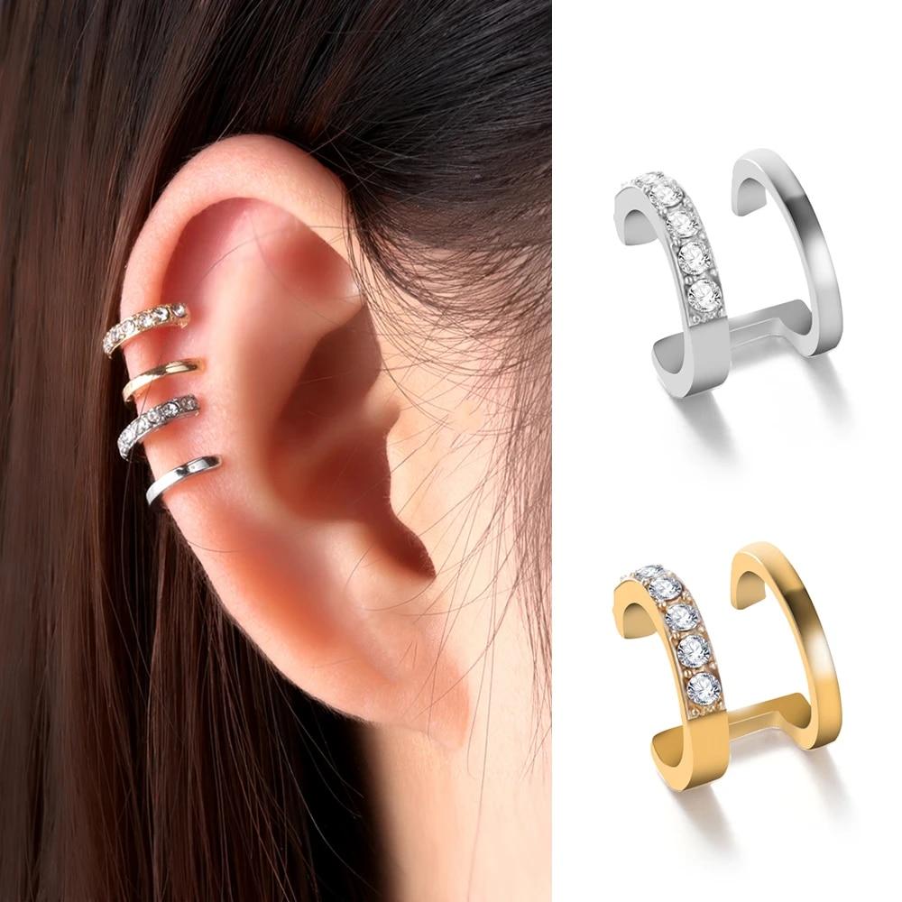 Rhinestone Dangle Cubic Zirconia Ear Cuff CZ Cuff Earrings No Piercing Earrings