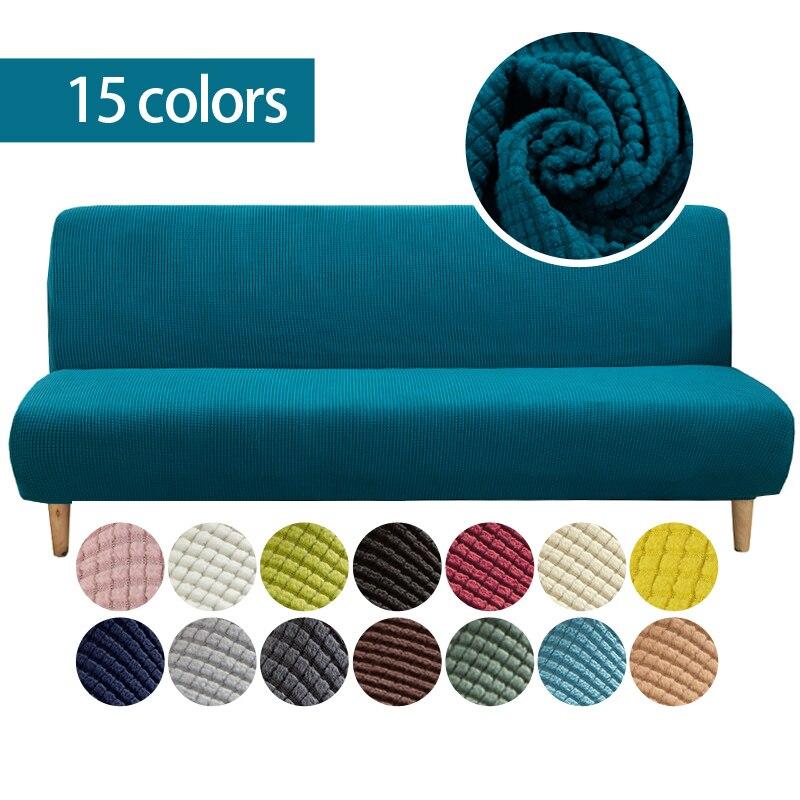 Funda de sofá sin brazos, protector completo de tela elástica personalizado, 15 colores, sin pasamanos