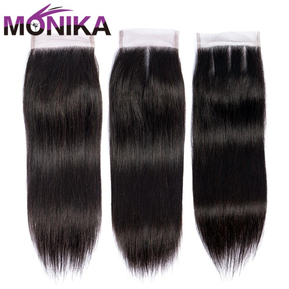 Monika Hair Closures Peruvian Straight Closure Human Hair 4x4 Swiss Lace Closure 1 Piece Non-Remy Hair Free Shipping