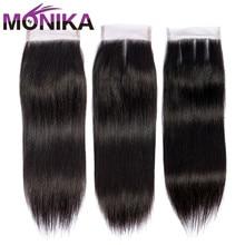 Monika Hair Closures Peruvian Straight Closure Human Hair 4x4 Swiss Lace Closure 1 Piece Non Remy Hair Free Shipping