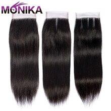 Monika Hair Closures Peruvian Straight Hair Hair 4X4สวิสลูกไม้ปิด1ชิ้นNon Remy Hairจัดส่งฟรี