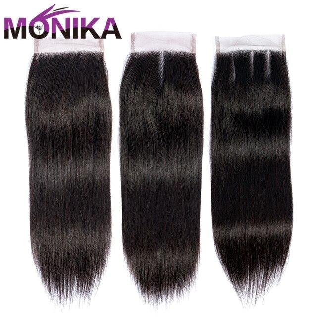 Monika fechamentos de cabelo peruano fechamento em linha reta do cabelo humano 4x4 fechamento do laço suíço 1 peça não remy cabelo frete grátis