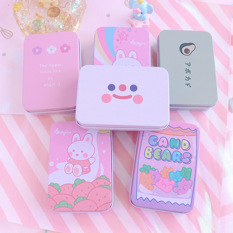 1pc Mini Cute Cartoon Tin Metal Drawer Receive Storage Box Candy Box Case Home Organizer Jewelry Container