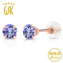 GemStoneKing 0,60 карат Круглый 4 мм натуральный Синий танзанит драгоценный камень серьги гвоздики 10 к розовое золото хорошее ювелирное изделие для женщин