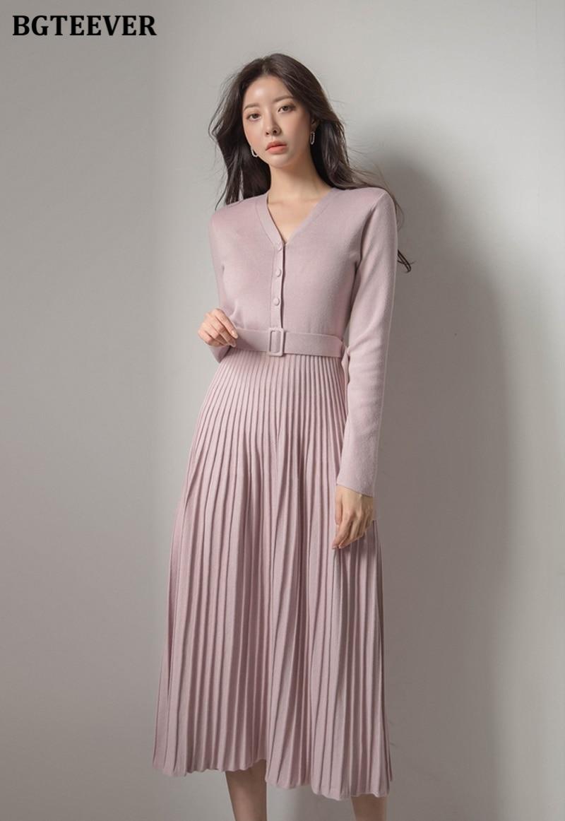 Elegant Pleated Long Sleeves Dress