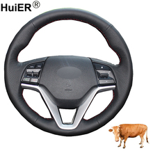 Hand Sewing Car Steering Wheel Cover Top Cow Leather Volant Braid For Hyundai Tucson 3 2015 2016 2017 2018 2019 Funda Volante
