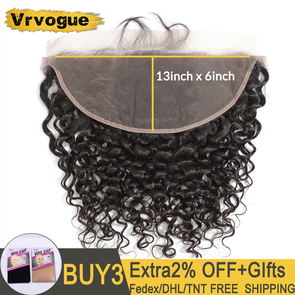 Vrvogue Hair Preplucked Brazilian Water Wave Frontal Natural Colour Remy Human Hair 13x6 Ear To Ear Lace Frontal Closure-in Closures from Hair Extensions & Wigs