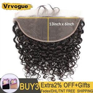 Image 1 - Vrvogue cheveux préplumés brésilien vague deau frontale couleur naturelle Remy cheveux humains 13x6 oreille à oreille dentelle fermeture frontale