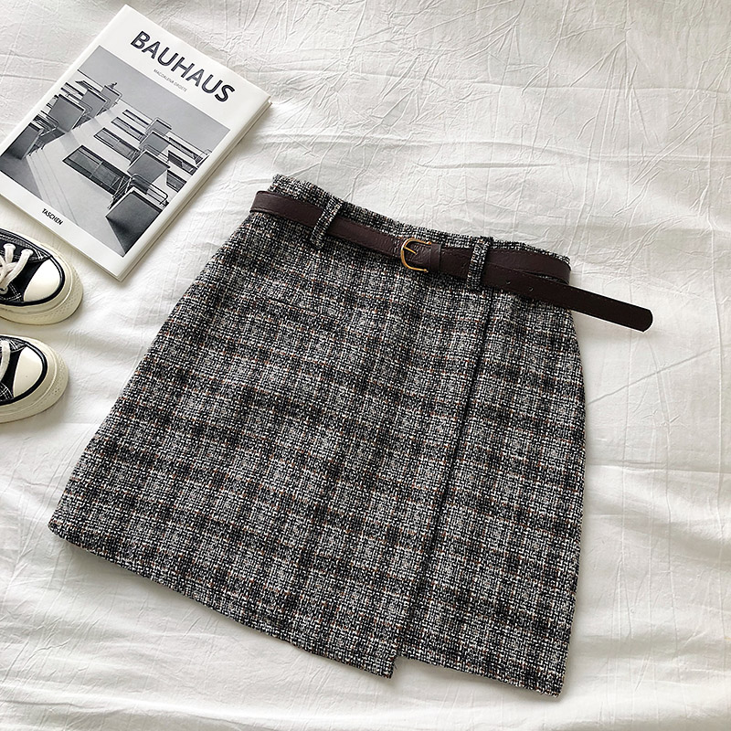 Vintage Women Plaid High Waist Mini Skirt 10