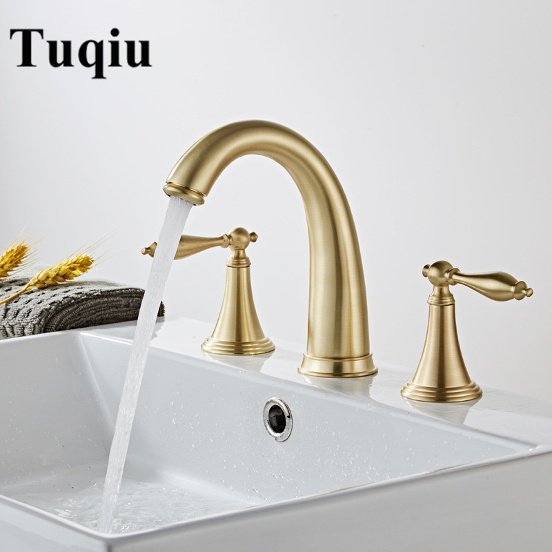 Bathroom Basin Brass Faucet Brush Gold Widespread  Faucet Black Tap Luxury Basin Mixer Hot And Cold Shower Room Sink Faucet