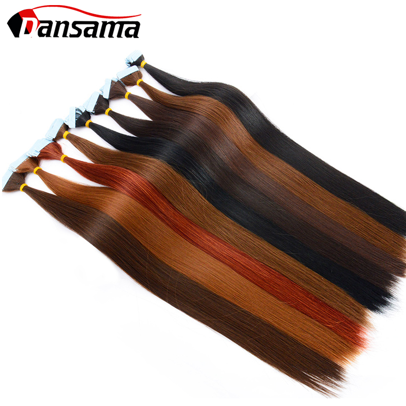 Dansama Skin Weft Hair Extensions Tape Adhesive High Temperature 22 Inch Blonde Red Double Side Tapes Hair For Toupee/Closure