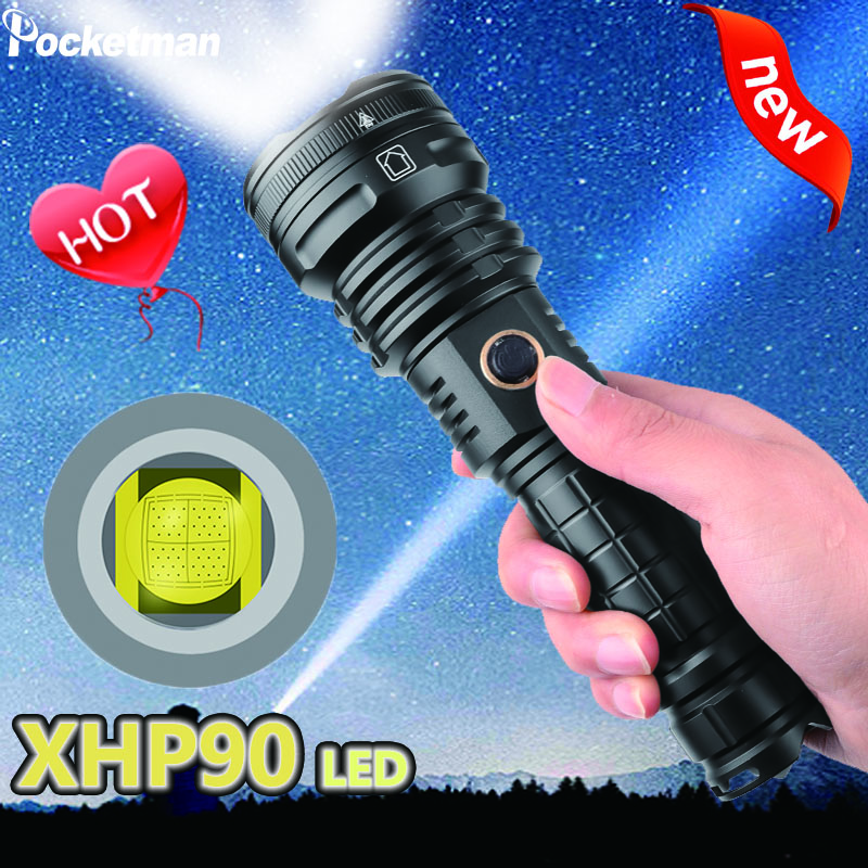 portable XHP90 <font><b>LED</b></font> Flashlight Tactical Waterproof <font><b>Torch</b></font> 5 <font><b>Lighting</b></font> modes Zoom built-in lamp use 26650 battery image