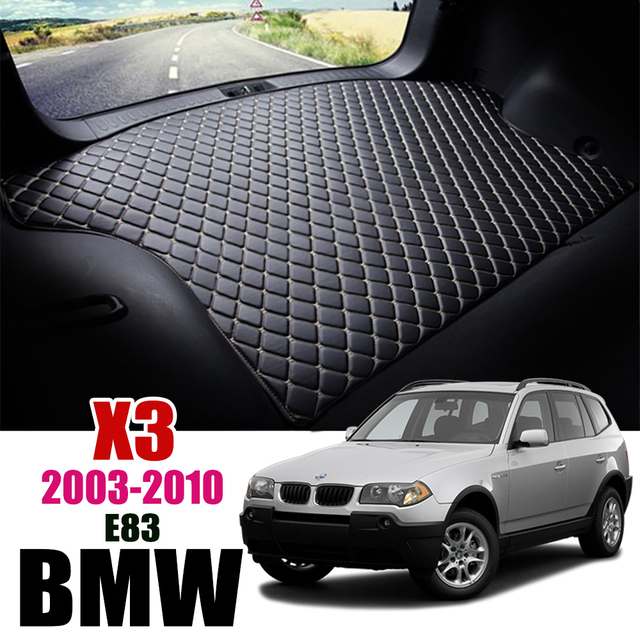 Leather Car Trunk Mat For BMW X3 E83 2003 2010 Trunk Boot Mat X3 Liner Pad xDrive18d BMW E83 Cargo pad Carpet Tail Cargo Liners