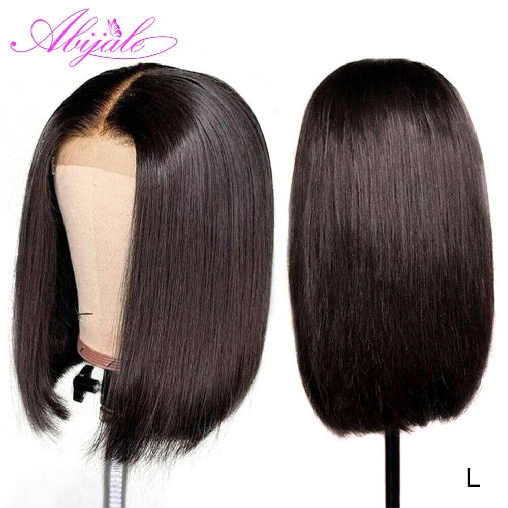 Abijale/короткие парики из человеческих волос на фронте с кружевом, 4x4, парик с Бобом, бразильские волосы, прямые волосы на фронте с предваритель...