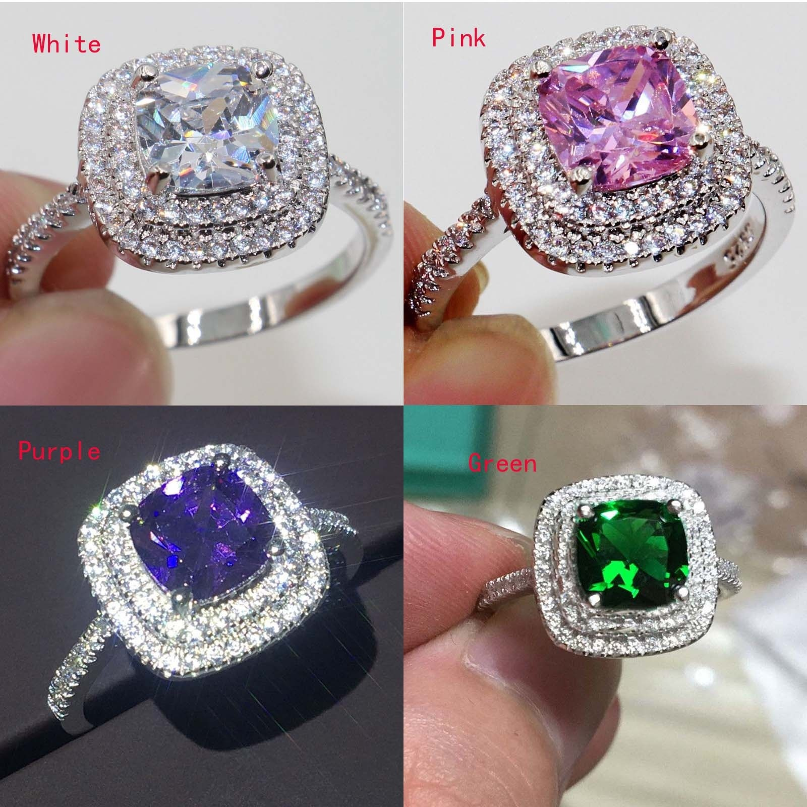 4 Colors Cut 8mm AAAAA Zircon Cz 925 Anillos Silver Women Wedding Ring Engagement Band /Pink/Purple Color Exquisite Bijoux 6-10