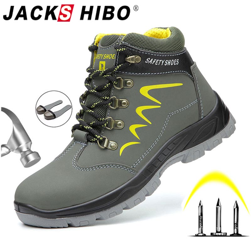 JACKSHIBO Safety Work Boots For Men Winter Security Ankle Shoes Anti-smashing Steel Toe Cap Boots Men Construction Work Boots