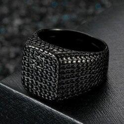 Pierścionek męski pojedynczy okrąg dominująca osobowość pierścień moda czarny pierścień obrączki mężczyźni pierścień biżuteria ze stali nierdzewnej prezent