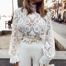 Autumn New Women blouse Elegant white lace shirt blouse long lantern sleeve  Sexy hollow out embroidery summer tops female pink lantern sleeves hollow out lace blouse