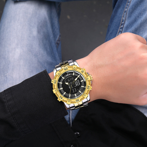 Image 5 - GOLDENHOUR montre numérique analogique pour hommes, montre de luxe, de luxe, de Sport, étanche, deux tons en acier inoxydable