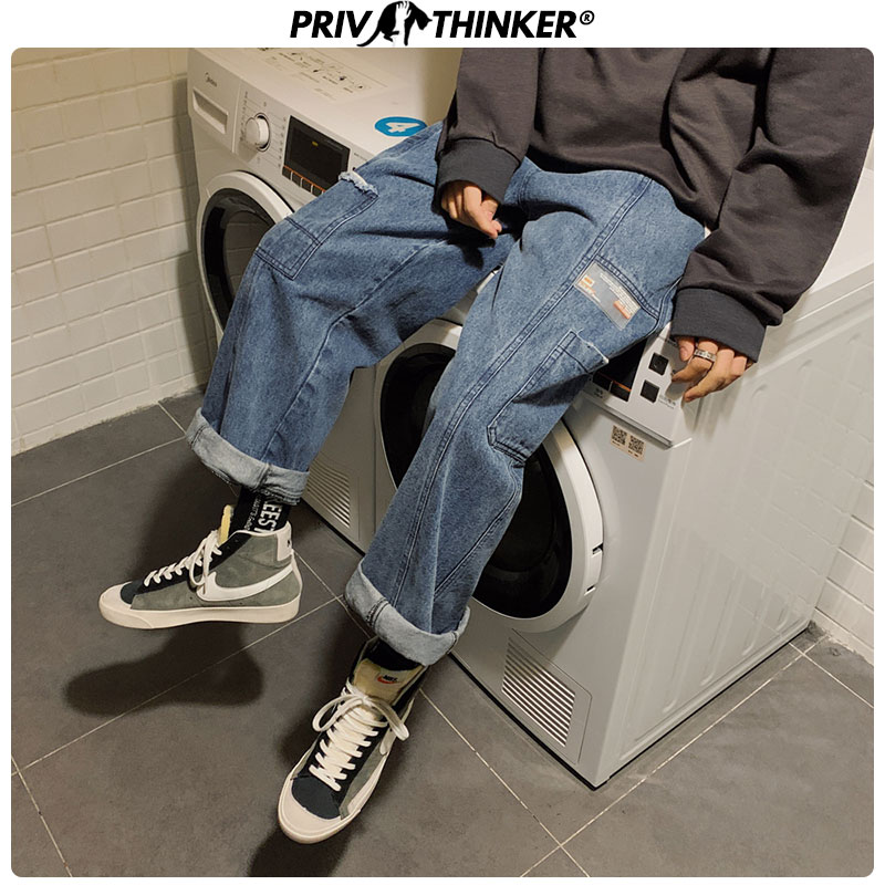 Privathinker Men Spring Vintage Jeans Pants 2020 Mens Harajuku Streetwear Casual Hip Hop Denim Pants Male Fashion Jeans Oversize