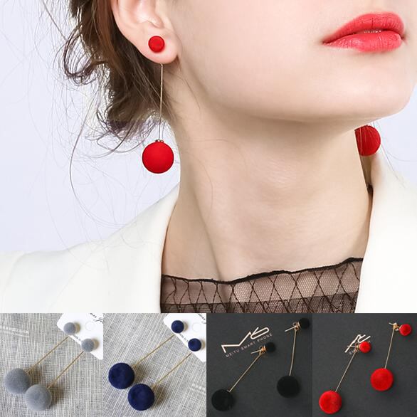 Women Girls Winter Plush Ball Drop Earrings Dangle Earrings Tassel Round Gift Party Red Black Pop Charm Christmas Present