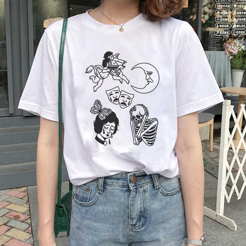 2019 Halloween Thanksgiving T Shirt Wanita Tengkorak Punk Rock Tee Shirt Femme Keren Wanita Tshirt Top Harajuku Camisetas Mujer