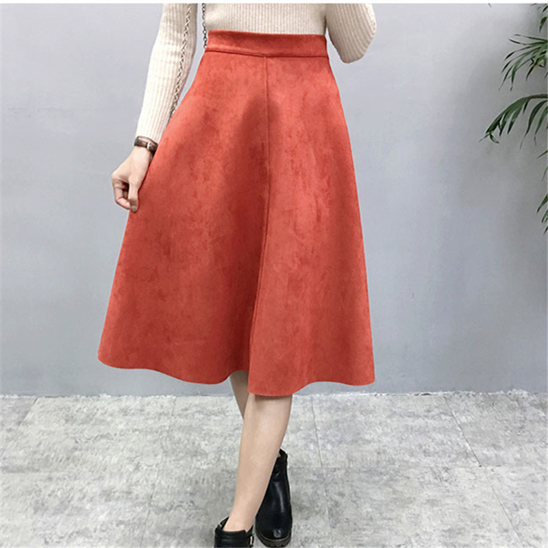 Hd86fdfd028e045889f0f414c92ef7fd0J - Neophil Women Suede High Waist Midi Skirt Summer Vintage Style Elastic Ladies A Line Black Green Flare Fashion Skirt  S29A4