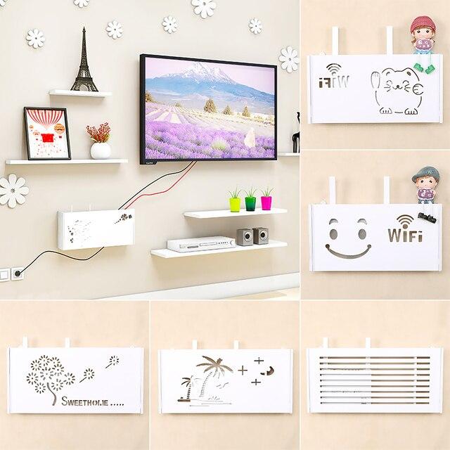 Wireless Wifi Router Storage Box PVC panel Shelf Wall Hanging Plug Board Bracket Cable Organizer Home Decor 3 Sizes 2