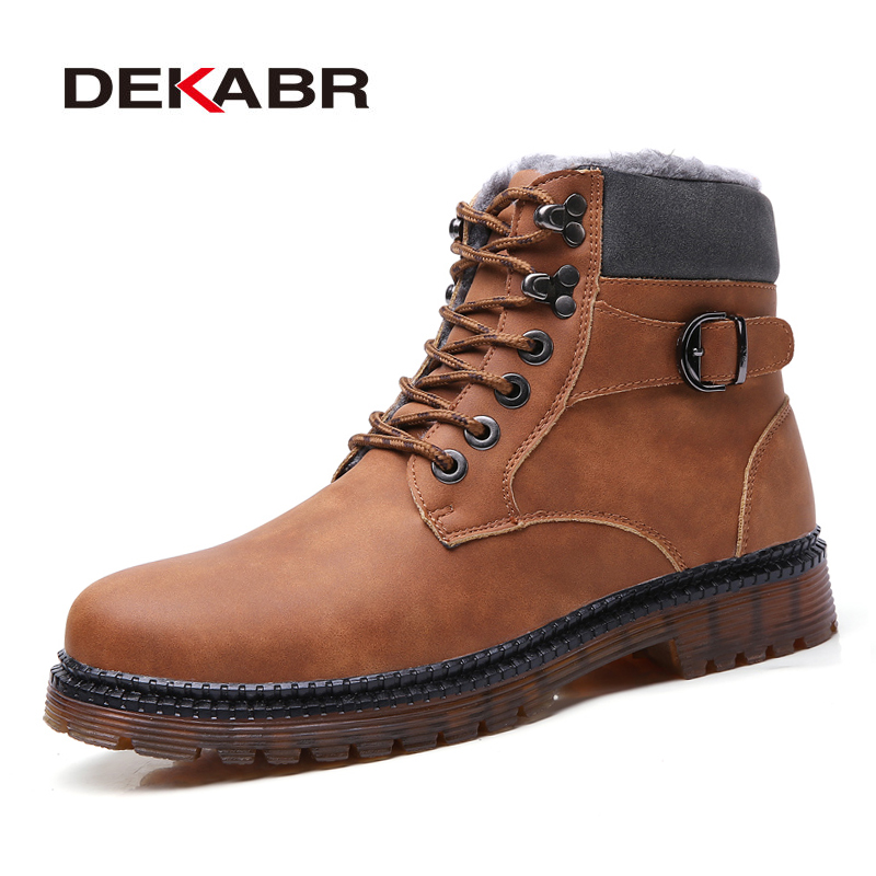 DEKABR Super Warm Winter Men Boots Pu Leather Boots Men Top Quality Footwear Military Fur Boots For Men Shoes Zapatos Hombre