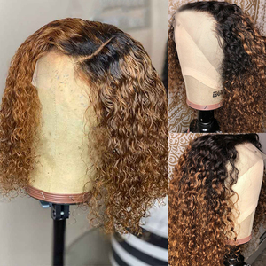 Image 3 - Ombre Blonde Curly Bob Lace Front Human Hair Wigs With Baby Hair Pre Plucked With Tpart Lace Wig Remy Brazilian Deep Middle Part