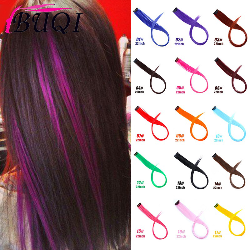 BUQI Straight Fake Colored Hair Extensions Clip Rainbow Hair Streak Synthetic Pink Orange White Purple Hair Strands On Clips