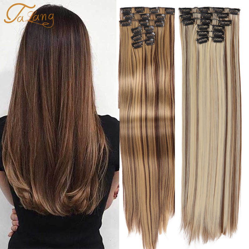 Накладные пряди для волос, 6 шт./компл., 24 дюйма, 16 зажимов