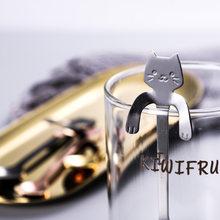 Venda quente colher de café mini 304 aço inoxidável dos desenhos animados colher de gato longo lidar com talheres de café ferramentas de alimentação utensílios