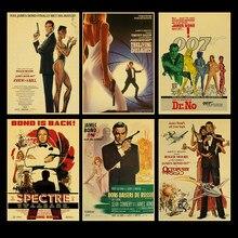 Lenda britânica james bond 007 retro poster papel kraft casa & sala de estar decoração da parede adesivo pintura