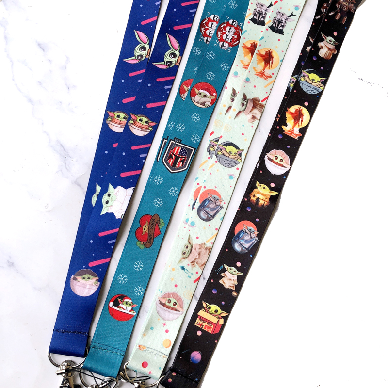 4 Colours Cute Yoda Baby Neck Strap Lanyards For Keys ID Card Gym Mobile Phone Straps USB Badge Holder Hang Rope Lariat Lanyard