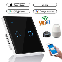 1PCS Touch Switch Wall Switch 2 Gang Smart Switch Panel Wifi Light Switch EU Standard Work with Alexa Google Home cheap CN(Origin) Work with Amazon Alexa Google Home user can control this WiFi socke Plastic ROHS 1 Year interruptor Wall Touch Wi-Fi Switch