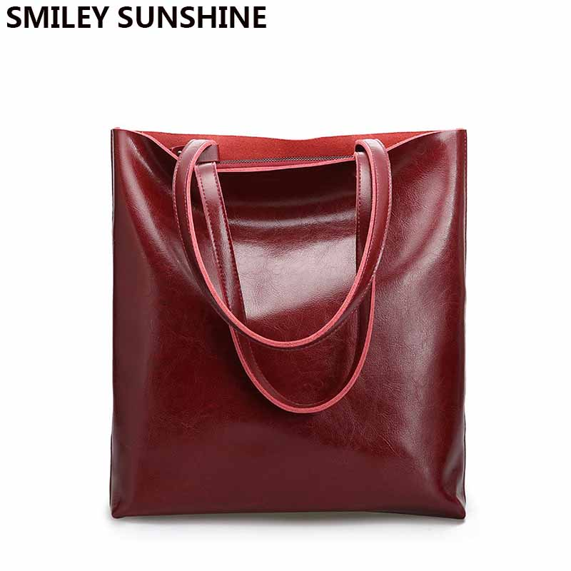 Vintage Real Genuine Leather Handbags Big Women Hand Bags Female Shopper Hangbags High Quality Office Ladies