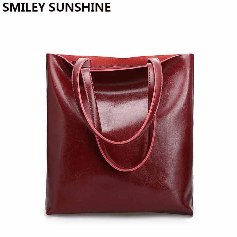 Vintage Real Genuine Leather Handbags Big Women Hand Bags Female Shopper Hangbags High Quality Office Ladies Shoulder Bags 2019