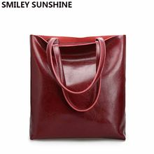 Vintage Real Genuine Leather Handbags Big Women Hand Bags Female Shopper Hangbags High Quality Office Ladies Shoulder Bags 2019(China)