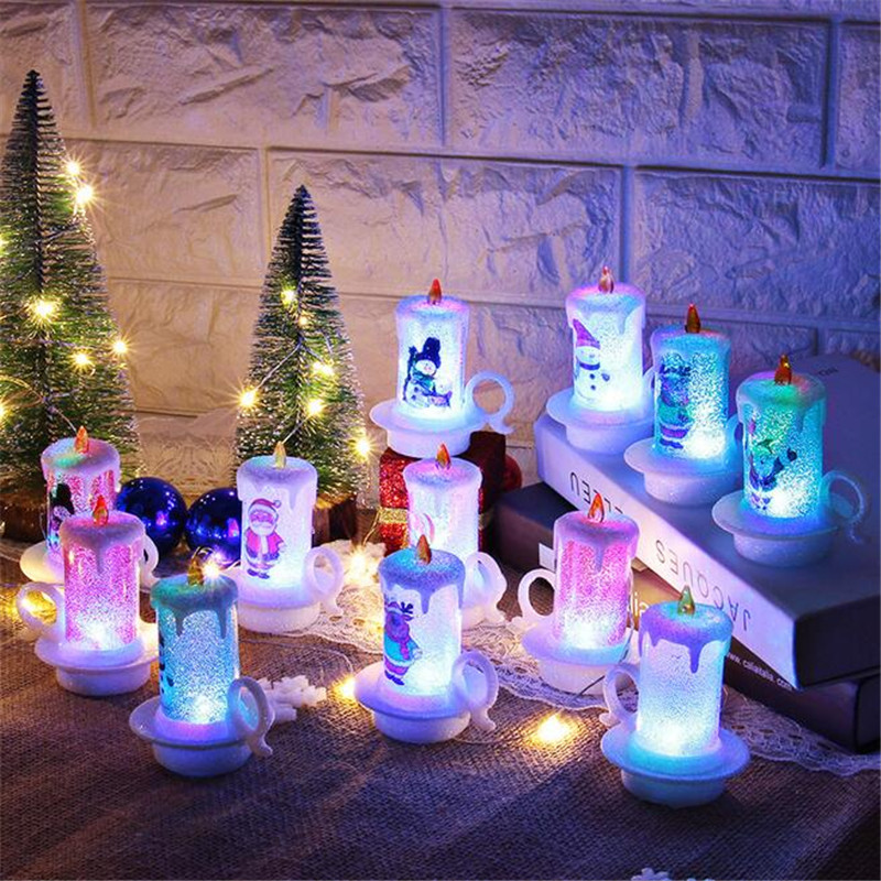 12 Pack LED Night Lights Candle Snowman Light Colour Changing Flickering Electronic Xmas Christmas Desktop Decoration Lamp