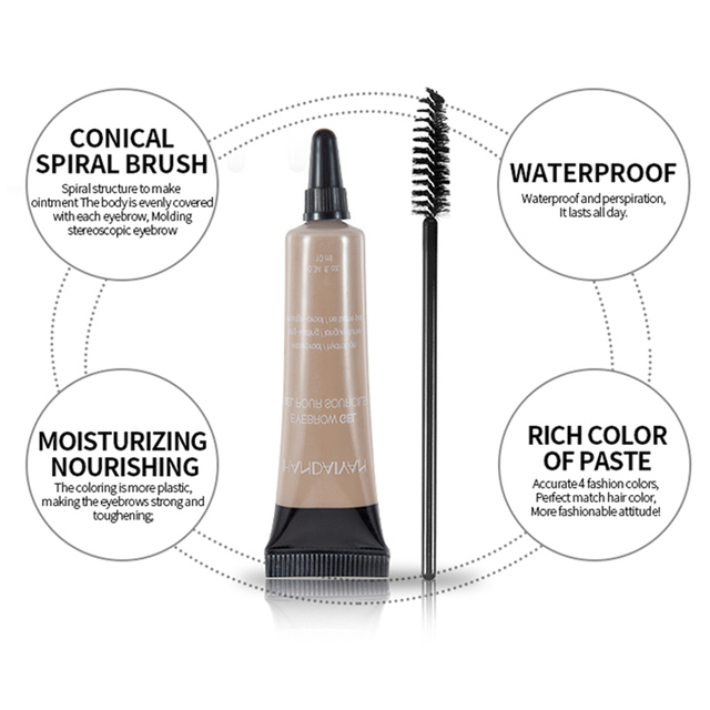 HANDAIYAN 10ml Eyebrow Cream Tattoo Pen with Brush Kit Waterproof Women Makeup Eyebrows Tint Enhancer Gel Eye Brow Dye Cosmetics 4