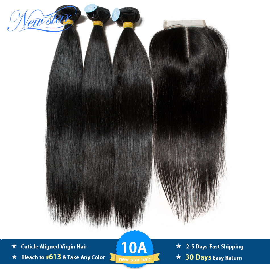 Peruvian 10A Straight Virgin Hair 3 Bundles With Lace Closure New Star Raw Hair Weaving Cuticle Aligned Hair Bundles And Closure