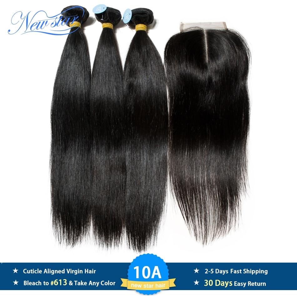 Peruano 10a cabelo virgem em linha reta 3 pacotes com fechamento do laço nova estrela cabelo cru tecelagem cutícula alinhada feixes de cabelo e fechamento